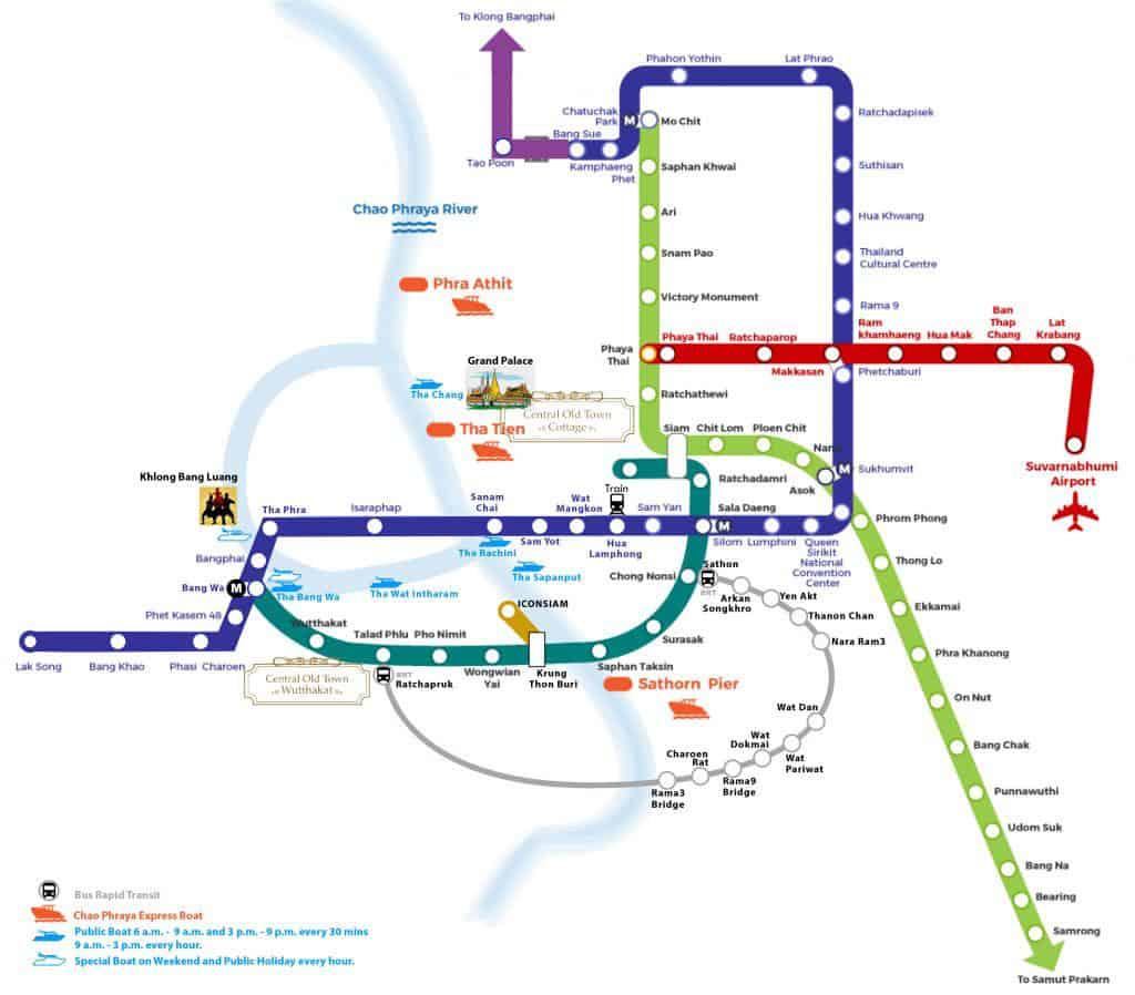 mapa del metro de bangkok tailandia sky train aeropuerto