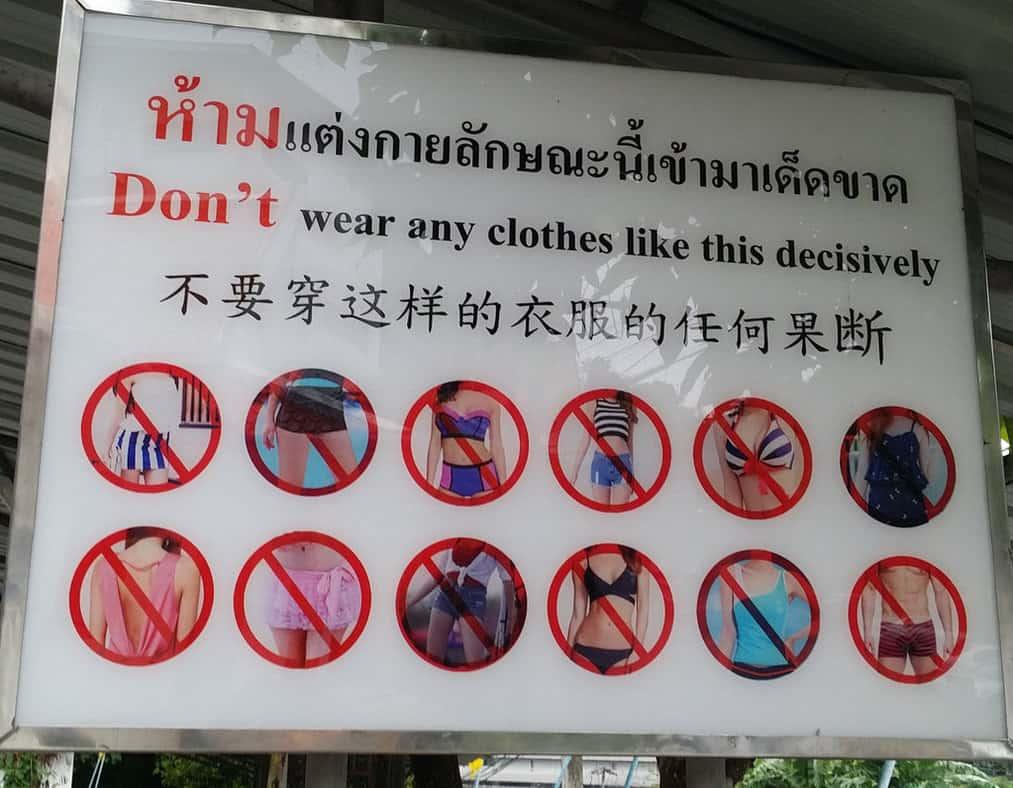 que ropa no llevar a los templos de tailandia. como cubrirse