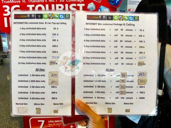 precios tarjeta sim en tailandia tarifas