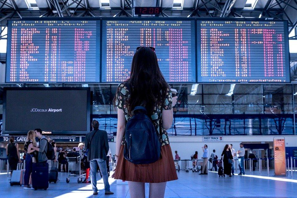 Aeropuerto, Transporte, Mujer, Niña, Turísticos